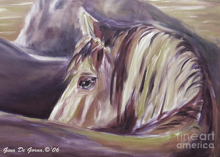 Brown Greeting Card featuring the painting Horse World Detail by Gina De Gorna