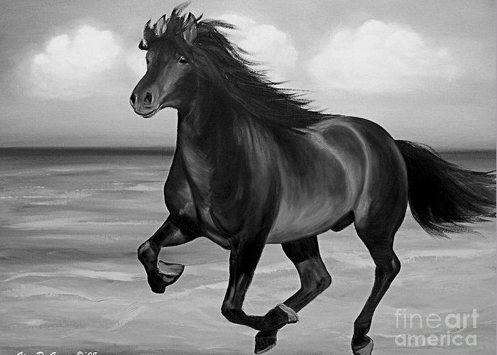 Horses Greeting Card featuring the painting Horses In Paradise Run by Gina De Gorna