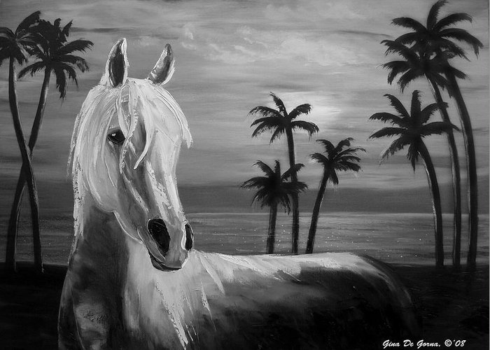 Horses Greeting Card featuring the painting Horses In Paradise Tell Me Your Dream by Gina De Gorna