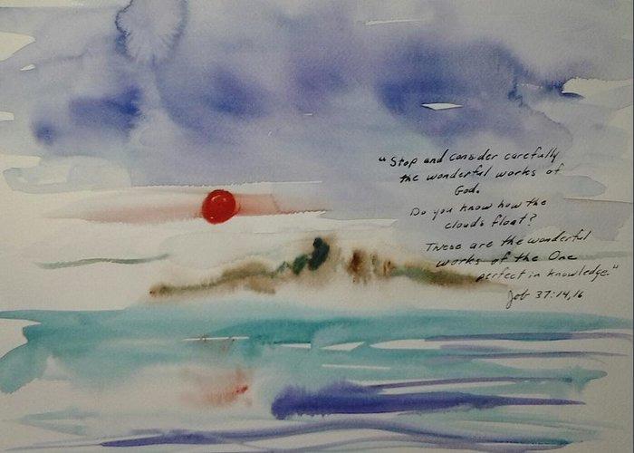 Watercolor Greeting Card featuring the painting How do the Clouds Float by B L Qualls