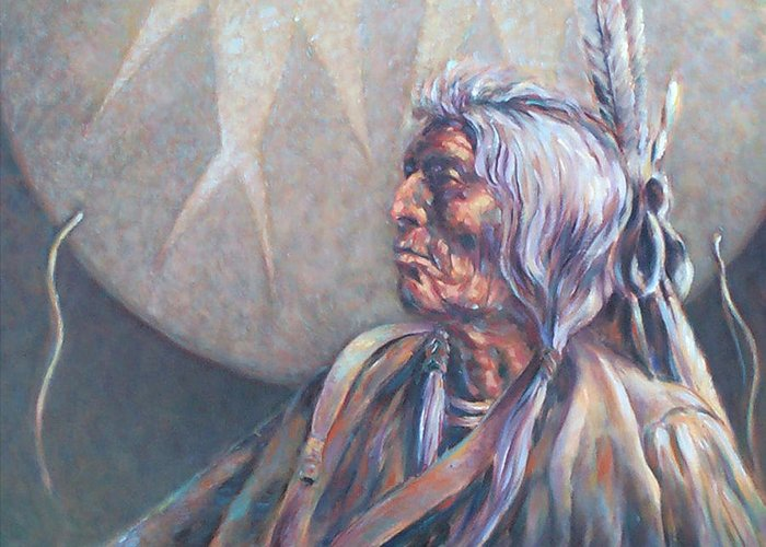 Old Indian Greeting Card featuring the painting I Was Young Once by Don Trout