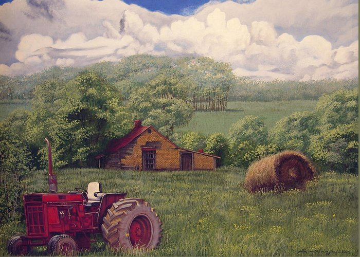 Landscape Greeting Card featuring the painting Idle In Godfrey Georgia by Peter Muzyka