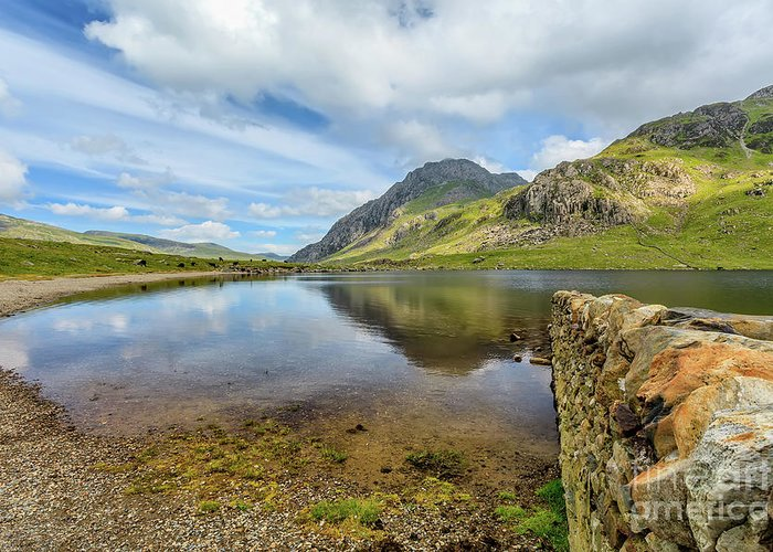 Welsh Landscape Greeting Card featuring the photograph Idwal Lake Snowdonia by Adrian Evans