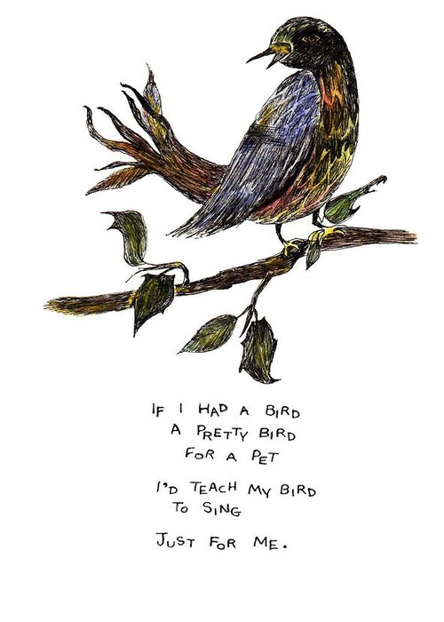 Birds Greeting Card featuring the painting If I Had A Bird by Lily Hymen