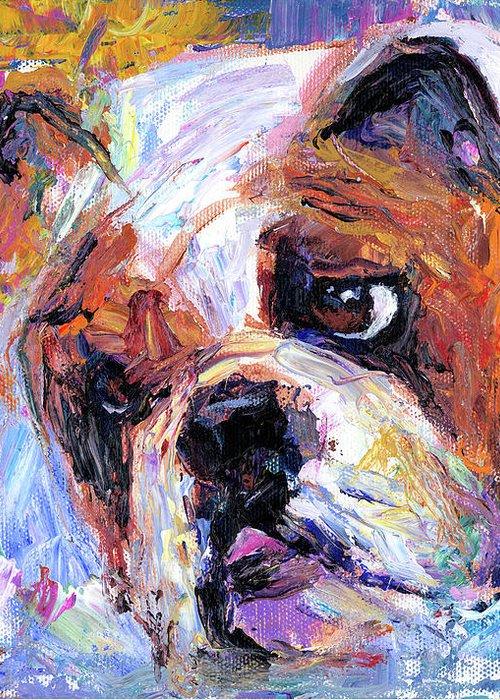 English Bulldog Painting Greeting Card featuring the painting Impressionistic Bulldog Painting by Svetlana Novikova