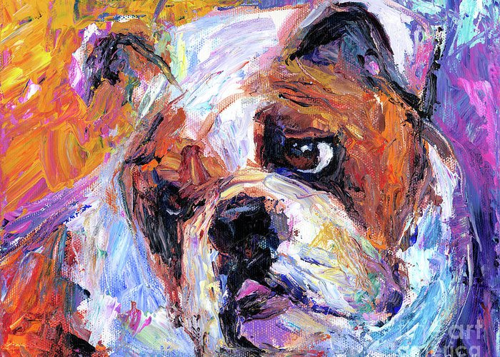 English Bulldog Painting Greeting Card featuring the painting Impressionistic Bulldog Painting by Svetlana Novikova