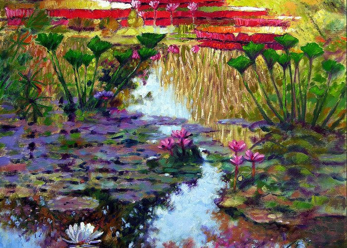 Garden Pond Greeting Card featuring the painting Impressions of Summer Colors by John Lautermilch