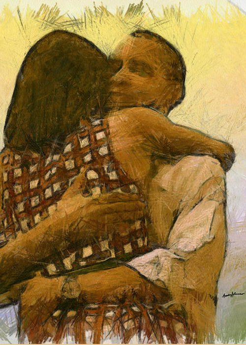 Portrait Greeting Card featuring the digital art In Love by Anthony Caruso