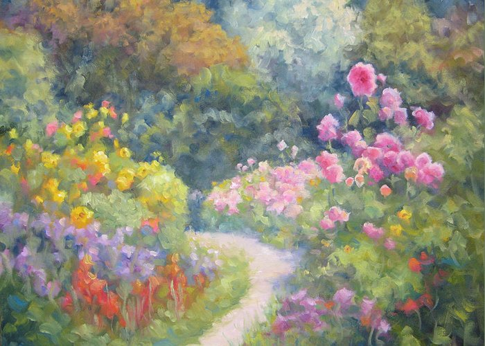 Garden Greeting Card featuring the painting In Monets Footsteps by Bunny Oliver