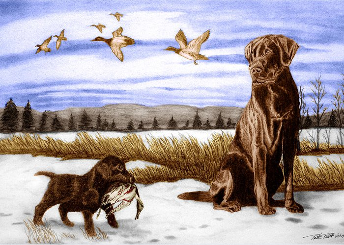 In Training Greeting Card featuring the drawing In Training by Peter Piatt
