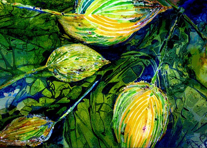 Leaves Greeting Card featuring the painting Indriel Blue Hosta by Mary Sonya Conti