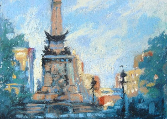 Indianapolis Greeting Card featuring the painting Indy Circle Day by Donna Shortt