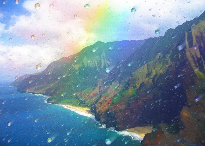 Rainbow Greeting Card featuring the painting Inside a Rainbow by Robby Donaghey