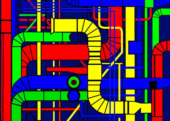 Centre Georges Pompidou Greeting Card featuring the digital art Inspired By The Centre Georges Pompidou by Asbjorn Lonvig