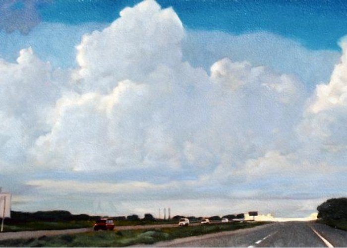Street Greeting Card featuring the painting Interstate 10 by Kevin Lawrence Leveque