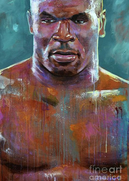 Mike Tyson Greeting Card featuring the painting Iron Mike by Robert Phelps