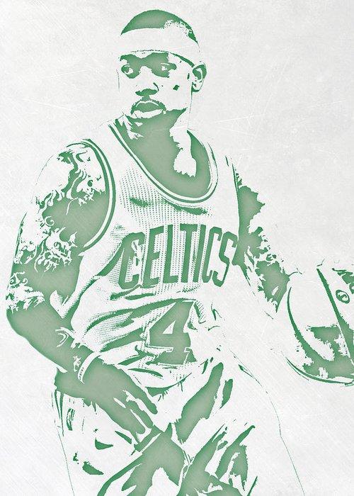 Isaiah Thomas Greeting Card featuring the mixed media Isaiah Thomas Boston Celtics Pixel Art 1 by Joe Hamilton