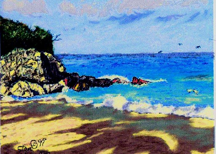 Island Coast Greeting Card featuring the digital art Island Coast by Stan Hamilton