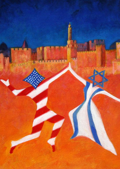 America Greeting Card featuring the painting Israel And Usa Dancing by Jane Simonson