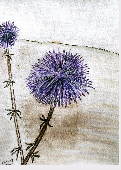 Thistle Greeting Card featuring the painting Israeli Summer. by Shlomo Zangilevitch