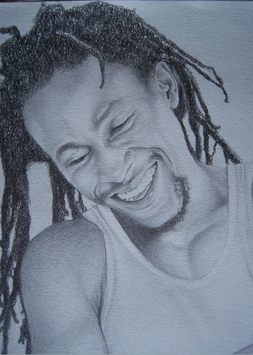 Greeting Card featuring the drawing Jah Cure by Jeffrey Samuels