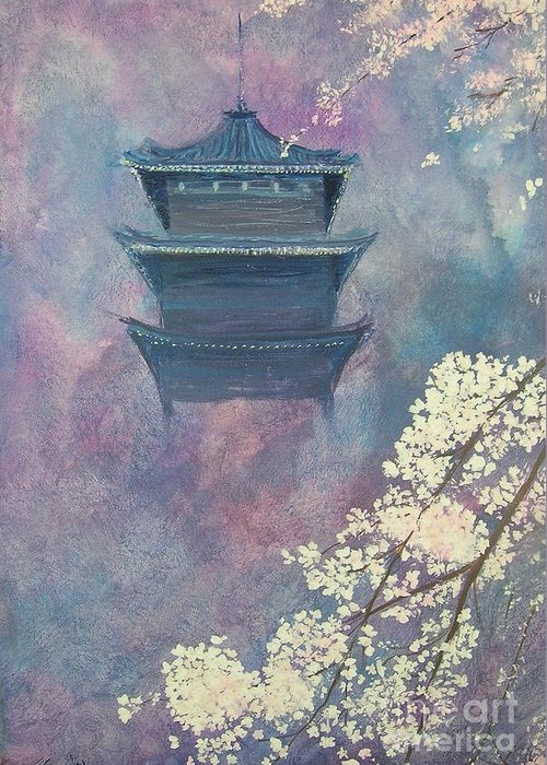Landscape Japan Greeting Card featuring the painting Japanese Spring Scene by Lizzy Forrester