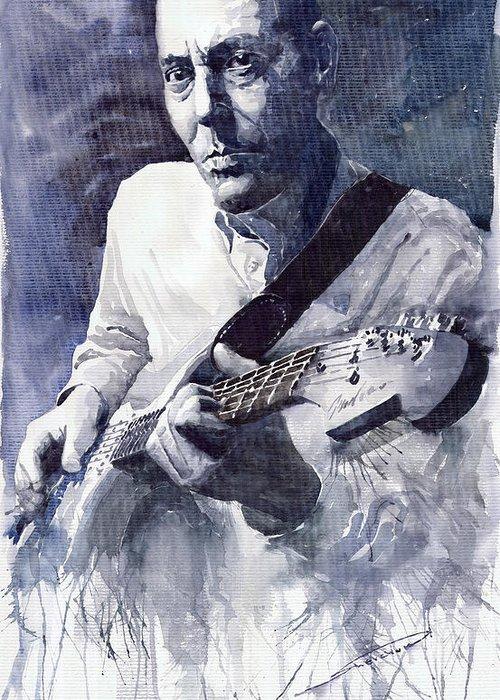 Blues Greeting Card featuring the painting Jazz Guitarist Rene Trossman by Yuriy Shevchuk