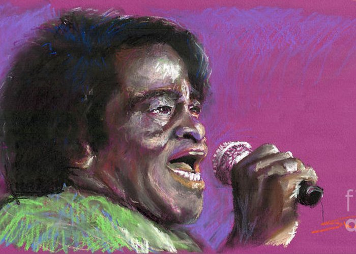 Jazz Greeting Card featuring the painting Jazz. James Brown. by Yuriy Shevchuk