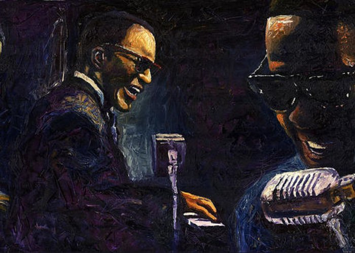 Jazz Greeting Card featuring the painting Jazz Ray Charles by Yuriy Shevchuk
