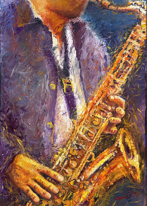 Jazz Greeting Card featuring the painting Jazz Saxophonist by Yuriy Shevchuk