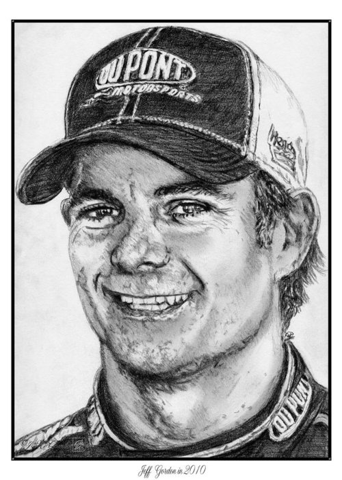 Jeff Gordon Greeting Card featuring the drawing Jeff Gordon In 2010 by J McCombie