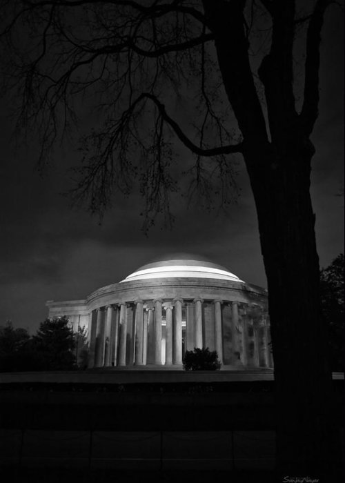 american History Greeting Card featuring the photograph Jefferson Memorial At Night by Sanjay Nayar