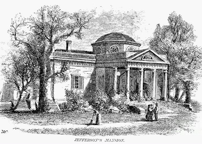 19th Century Greeting Card featuring the photograph Jefferson: Monticello by Granger
