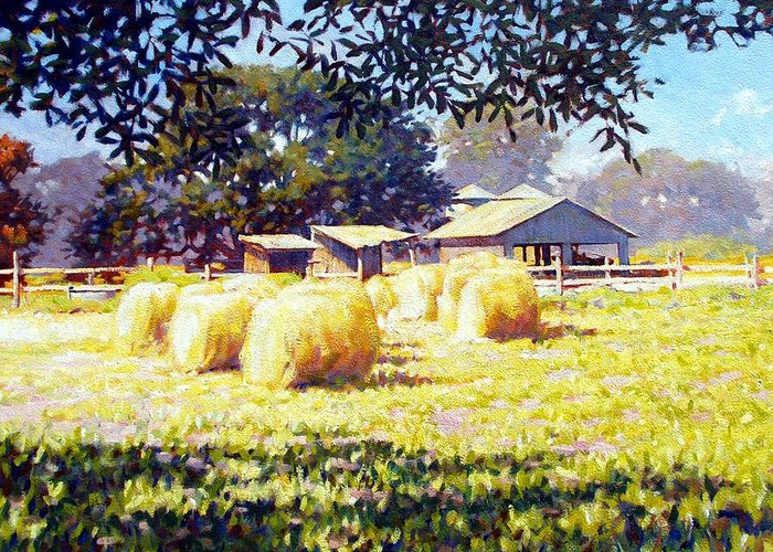 Hay Greeting Card featuring the painting Jenny Rays Farm by Kevin Lawrence Leveque
