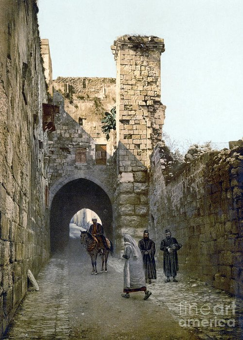 1900 Greeting Card featuring the photograph Jerusalem: Via Dolorosa by Granger