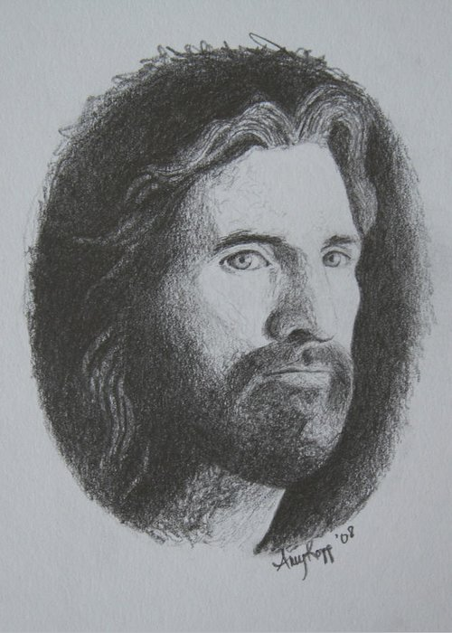 Portrait Greeting Card featuring the print Jesus by Amy Parker Evans