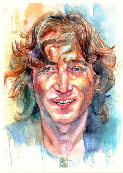 John Lennon Greeting Card featuring the painting John Lennon portrait by Suzann Sines