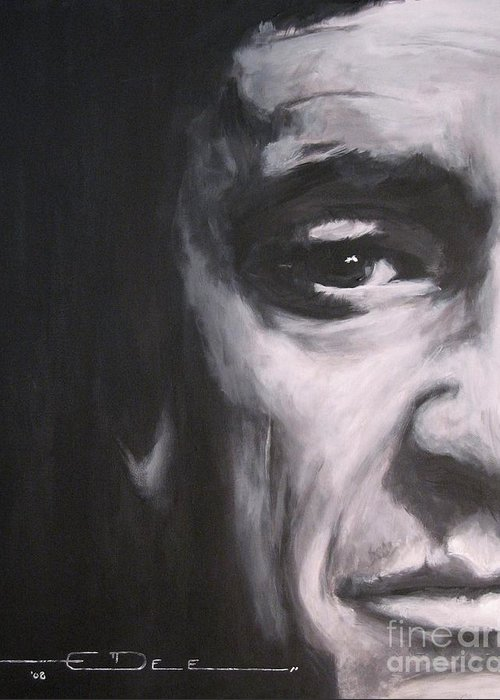 Johnny Cash Greeting Card featuring the painting Johnny Cash 2 by Eric Dee