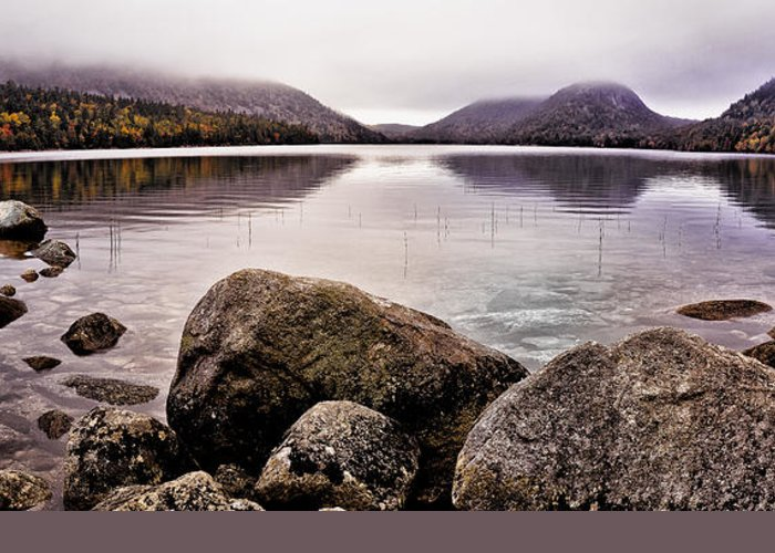 Jordan Pond Greeting Card featuring the photograph Jordan Pond by Chad Tracy