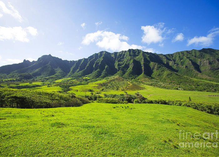 Beautiful Greeting Card featuring the photograph Kaaawa Valley And Kualoa Ranch by Dana Edmunds - Printscapes