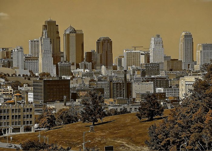 Architecture Greeting Card featuring the digital art Kansas City Skyline by Anthony Dezenzio