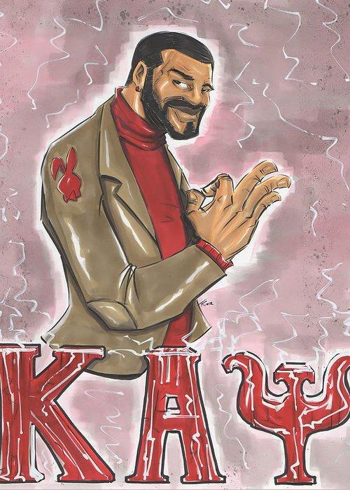 Kappa Greeting Card featuring the drawing Kappa Alpha Psi Fraternity Inc by Tu-Kwon Thomas