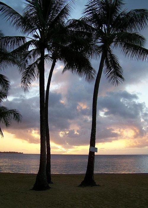 Sunset Greeting Card featuring the photograph Kauai Sunset by Lara Henderson