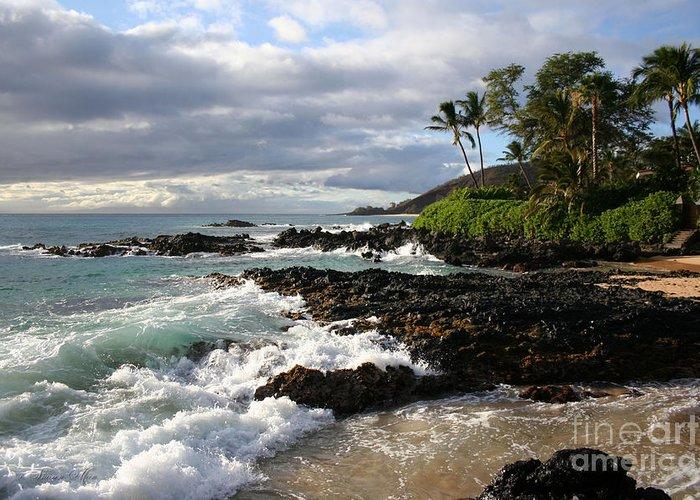 Aloha Greeting Card featuring the photograph Ke Lei Mai La O Paako Oneloa Puu Olai Makena Maui Hawaii by Sharon Mau