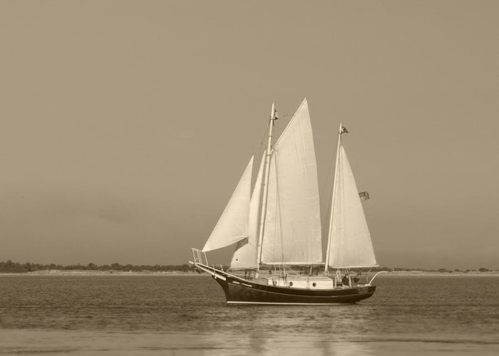 Ketch Greeting Card featuring the photograph Ketch - Nantucket Harbor by Henry Krauzyk