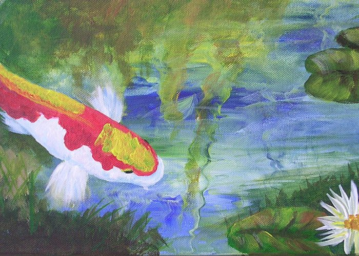 Koi Greeting Card featuring the painting Kohaku Koi And Water Lily by Barbara Harper