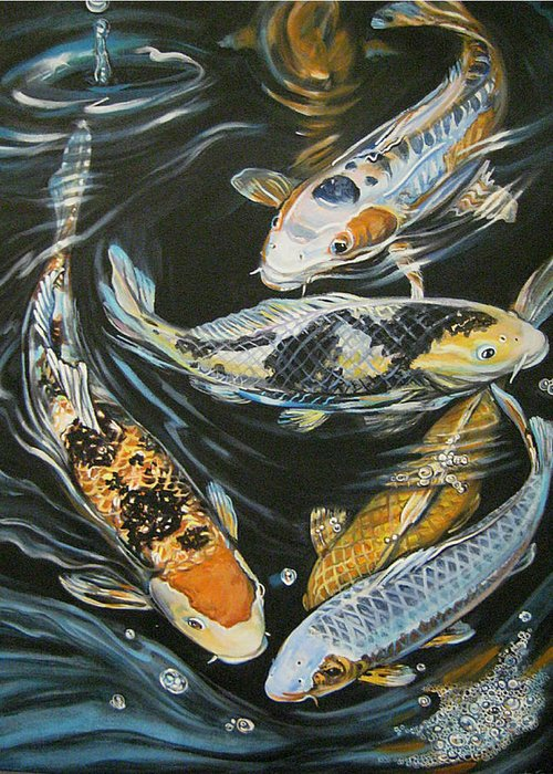Fish Greeting Card featuring the painting Koi Pond by Diann Baggett