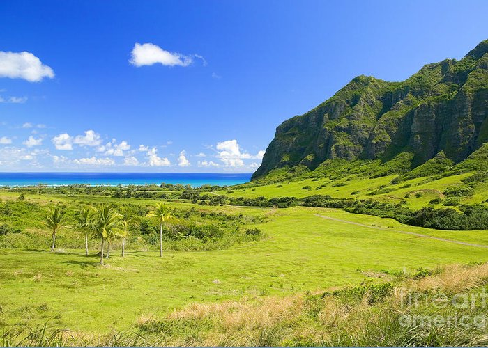 Blue Greeting Card featuring the photograph Kualoa Ranch Mountains by Dana Edmunds - Printscapes