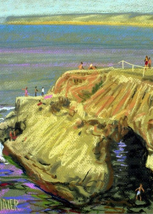 Pastel Greeting Card featuring the painting La Jolla Swimmers by Donald Maier