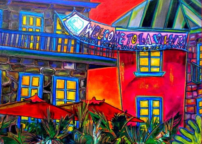San Antonio Greeting Card featuring the painting La Villita Entrance by Patti Schermerhorn